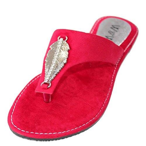 W & W Mujeres Dama Noche Slip On Casual plano Comfort Sandalia Zapatos Tamaño azul, rojo (SAN509) Rojo - rojo