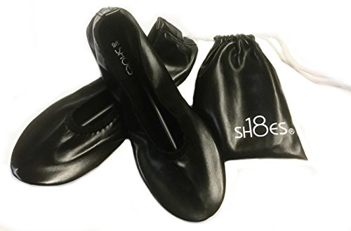 (Shoes 18 Women's Foldable Portable Travel Ballet Flat Shoes w/Matching Carrying Case (9/10 Black 1818A) )