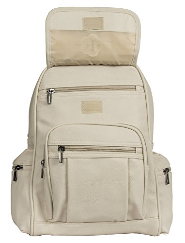 Light Shop Size Unisex Handbag Backpack Medium Leather Design Bag 2 Rucksack Vegan Shoulder Big Beige q1OWvn5B1