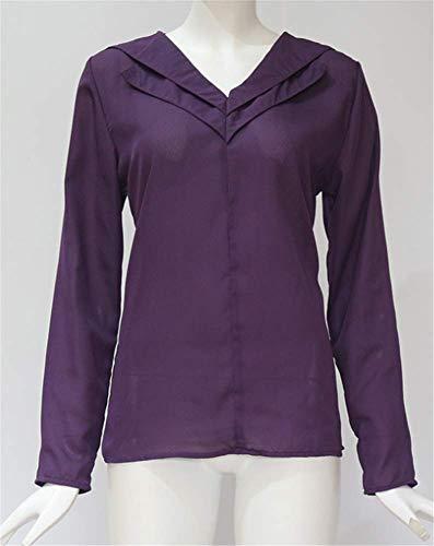 Mode Shirt Sexy Unie Chemisier Manches Violet YOGLY Longues de Col en Tops Mousseline Chic Soie Couleur Femme Blouse Casual V OpZnF7xq
