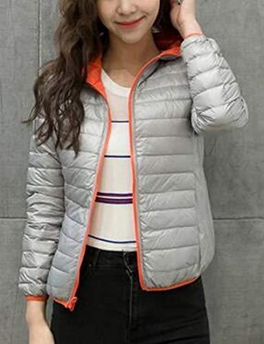 Puffer MU2M Lightweight Hooded Down Orange Jacket Slim Zip Up Short Women Packable 7Er7q8w