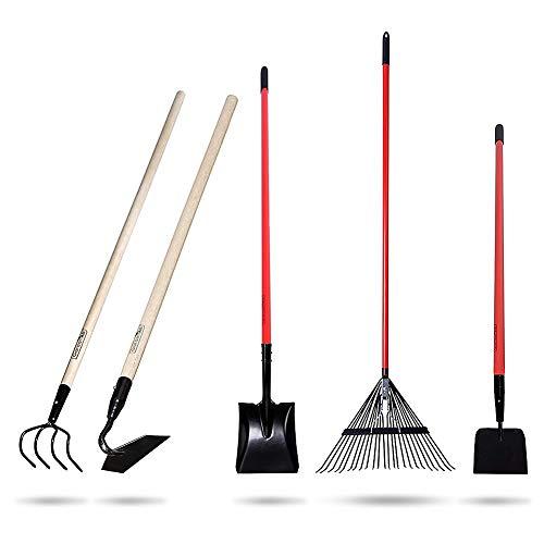 GardenAll 5-Piece Garden Tools Set - Include Shovel/Rake/Cultivator/Hoe/Sidewalk Scraper with Long-Handle - ()
