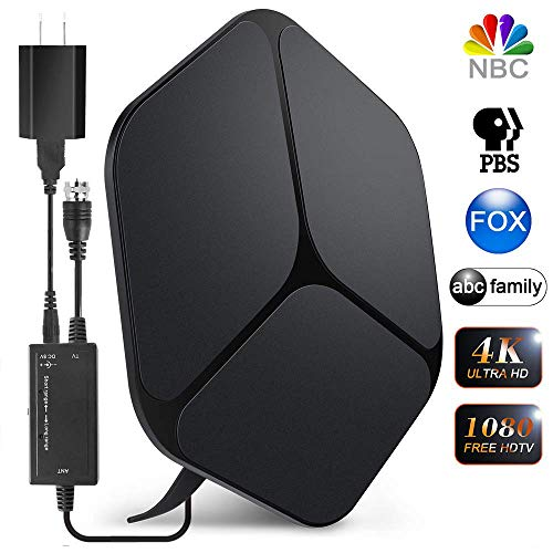 【2019 Newest】 HDTV Antenna Indoor Digital TV Antenna, 60-80 Miles Range HD Antenna with Amplifier Signal Booster and 16FT Coaxial Cable for 1080P 4K Free Channels Support All TVs (Best Indoor Tv Antenna 2019)