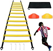 12 Rungs 20Ft Agility Ladder with12 Soccer Training Cones, Medium or Large Size Speed Ladder for Soccer Traini