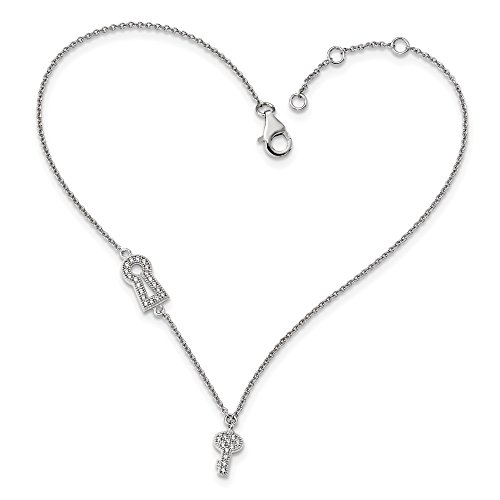 Sterling Silver CZ Brilliant Embers Lock/Key Anklet 1in Ext Solid 1 mm 9 in Themed Anklets Jewelry