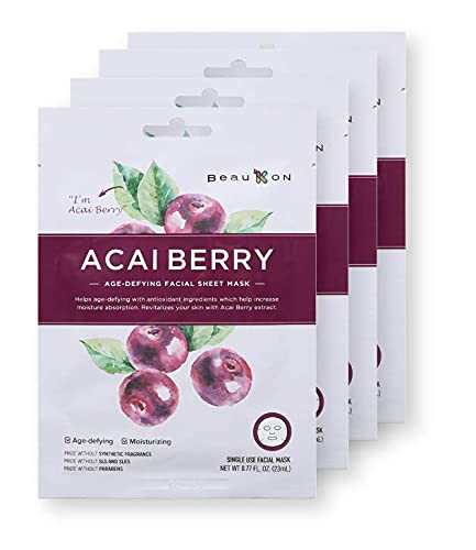 BeauKON Acai Berry Age-Defying Facial Sheet Mask, Korean Daily Face Mask, Anti-Aging Properties and Moisturizing (4 Pack)
