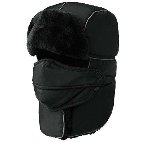Mens Women Windproof Trapper Faux Fur Ear Flaps Hunting Bomber Russian Hat Face Mask Black ()