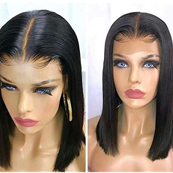 Amazon Com Nobel Hair Fake Scalp Wig 13x6 Lace Front Human Hair Wigs With Elastic Band Invisible Knot Wig Straight Bob Wigs Pre Plucked Deep Part Peruvian Remy Hair