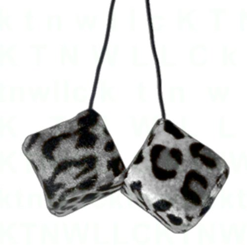 A Pair of Hanging Dice - Snow Leopard (Snow Hanging)