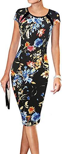 (LunaJany Women's Floral Print Print Sexy Wear to Work Office Career Sheath Midi Dress L Black Blue)