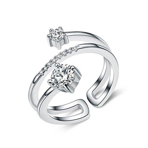 Erica 925 en argent sterling Creative Zircon Ring Taille ajustable cadeau pour les femmes ou Girlfriend
