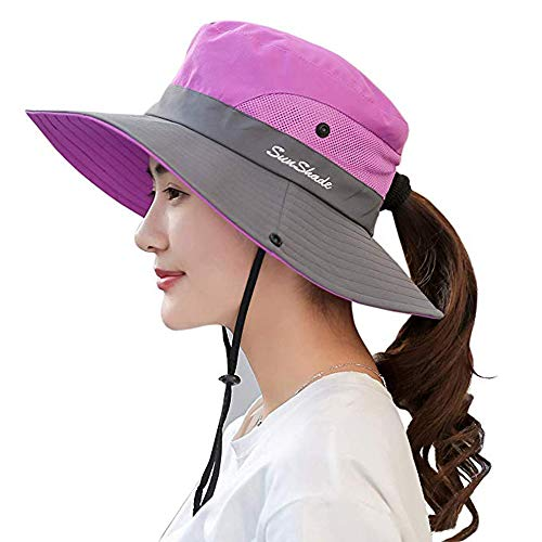 Ponytail Women's Summer Sun Bucket Hats UV Protection Safari Hiking Wide Brim Beach Foldable Mesh Fishing Cap (One Size, D-Purple) ()