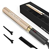 Hair Straightener, UMICKOO Professional Flat Iron for Hair Styling: 2 in 1 Tourmaline Ceramic Curling Iron with Adjustable Temperature (Gold)