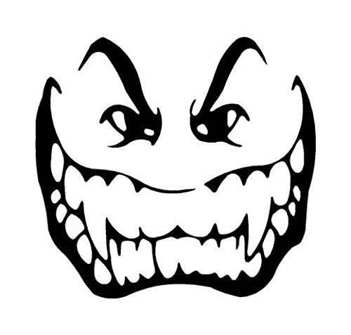 Vampire Face Fangs Scary Decal Sticker, Die cut vinyl decal for windows, cars, trucks, tool boxes, laptops, MacBook - virtually any hard, smooth surface ()