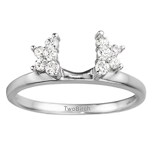 Diamond Star Shaped Ring Wrap in Platinum G-H SI2 to I1(0.19Ct)Size 3 To 15 in 1/4 Size Interval