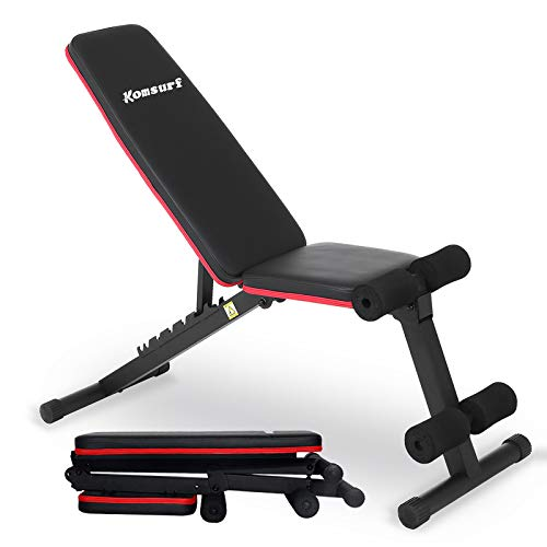 KOMSURF Weight Bench, Adjustable Workout Bench, Exercise Bench Press for Home Gym, Foldable Equipment Body Gym System…