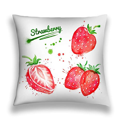 Tyuyui Pillow Cases Watercolor Set Strawberry Illustrations Whole Half Paint smudges Splashes Grey tempurpedic -