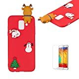 Cute Cartoon Case For Samsung Galaxy A6 Plus 2018,Funyee Stylish 3D Christmas Deer Design Ultra Thin Soft TPU Silicone Case for Samsung Galaxy A6 Plus 2018,Anti-scratch Rubber Durable Shell Smart Phone Case with Free Screen Protector,Red