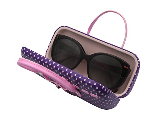 Purple Hard Protective Eyeglass Case with handles Mini handbag Eyeglass Case with cleaning cloth for Medium frames Women & Girls Small accessories| AS12TG Polka Dots Purple by MyEyeglassCase (Image #2)