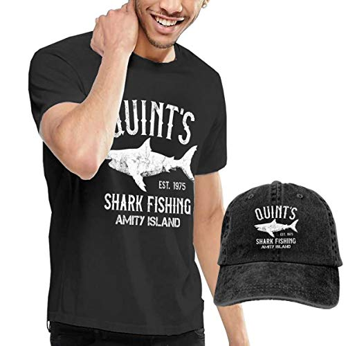 Quint's Shark Fishing Amity Island Tshirts Short Sleeve Denim Hat Men