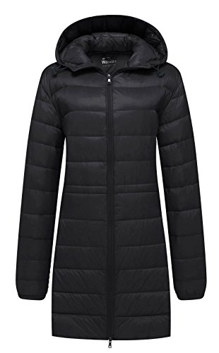 - Wantdo Women's Hip Length Hooded Down Jacket Insulated Puffy Coat Black 2XL