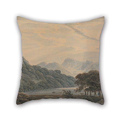 Bestseason 20 X 20 Inches / 50 By 50 Cm Oil Painting Thomas Sunderland - The Head Of Ullswater, With The Lodge Of Patterdale On The Left Pillow Covers,2 Sides Is Fit For Pub,club,bench,dinning Room