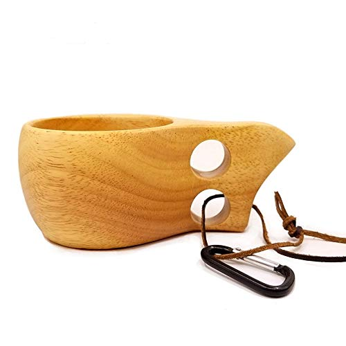 Visual Touch Dual Ring Beech Wood Cup Wooden Camping Mug for Coffee Tea Milk Beer Decoration with Carabiner