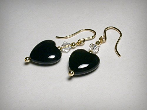 Earrings Drop Onyx 14k (Genuine black onyx earrings, with Swarovski crystal elements, in 14K yellow gold filled. Black heart & , dangle drop crystal earrings.)
