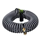 YeStar 75Ft Garden Coil Hose, 3/4' Solid Brass Fittings/Leak Proof Connector, Flexible Water Hose with 7-Pattern Spray Nozzle, Easy to Storage, Kink Free Compact and Durable