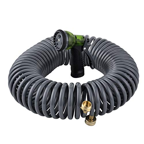 YeStar 50FT Garden Coil Hose, 3/4″ Solid Brass Fittings, Leak Proof Connector, Flexible Water Hose with 7-Pattern Spray Nozzle, Easy to Storage, Kink Free Compact and Durable