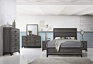 picture of Kings Brand Furniture - Ambroise 6-Piece King Size Bedroom Set, Grey/Black. Bed, Dresser, Mirror, Chest & 2 Night Stands