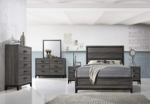 Kings Brand Furniture - Ambroise 6-Piece King Size Bedroom Set, Grey/Black. Bed, Dresser, Mirror, Chest & 2 Night Stands,kings brand furniture