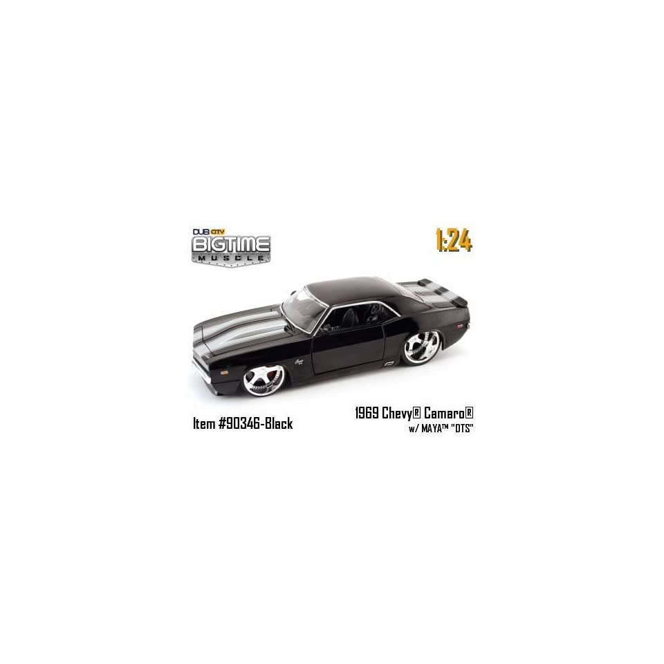Jada Dub City Big Time Muscle Black 1969 Chevy Camaro with Silver Stripes 124 Scale Die Cast Car