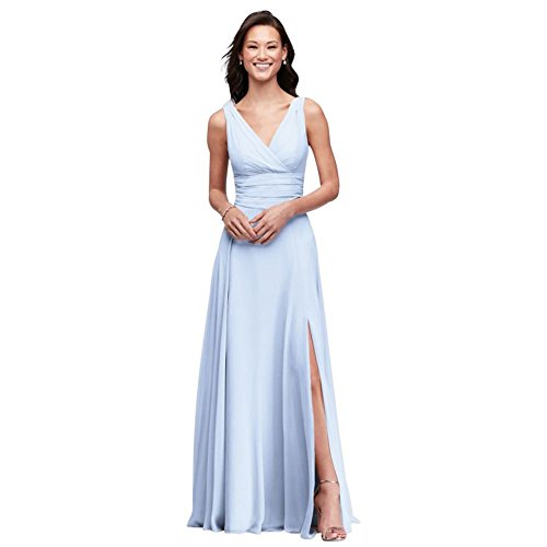 (David's Bridal Surplice Tank Long Chiffon Bridesmaid Dress Style F19831, Ice Blue, 2)