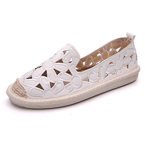 Womens Breathable Espadrille Sneakers Cutout Flowers Casual Flats Classic Slip-On Loafer Shoes White