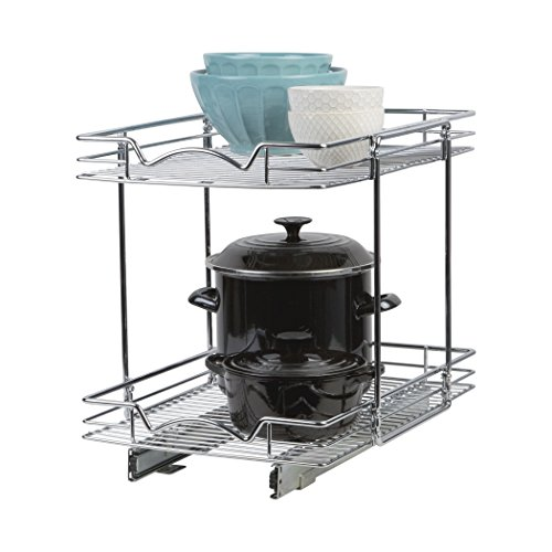 """Richards HomewaresSlide Out Cabinet Organizer – 14x21"""" Kitchen Cabinet Pull Out Two Tier Roll Out Sliding Shelves and Storage Organizer for Extra Storage by Richards Homewares"""