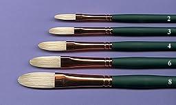 Silver Brush 1027-2 Grand Prix Premier Long Handle Hog Bristle Brush, Extra Long Filbert, Size 2