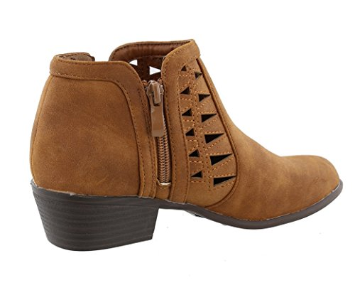 Stacked Cut Geometric Western Tan Moda Low Bootie Ankle Chunky Out Women's Top Heel 0ARw4xHIq