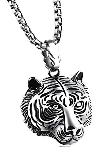 - Fusamk Punk Rock Titanium Steel Animal Tiger Tag Pendant Chain Necklace