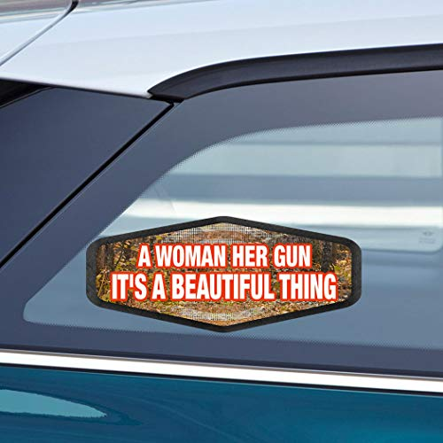 (Makoroni - A WOMAN HER GUN IT'S A BEAUTIFUL THING Hunters Hunting Car Laptop Wall Sticker Decal - 3.5'by8'(Small) or 4'by10'(Large))