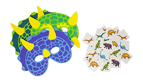 M & M Products Online Dinosaur Party Supplies: Bundle Set of 24 Foam Dino Masks and 72 Temporary Tattoos for Kids - Great Value Set for Dinosaur Themed Birthday Parties