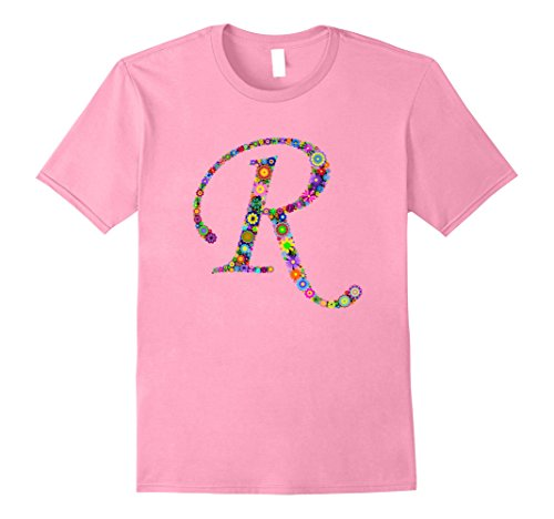 Mens R Initial, Fun First or Last Name T Shirt Gift For Gals XL - Name Last Pink