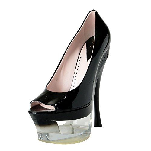 Versace Leather Pumps (Versace Women's Black Patent Leather High Heel Platform Pumps Shoes SZ US 10 IT 40)