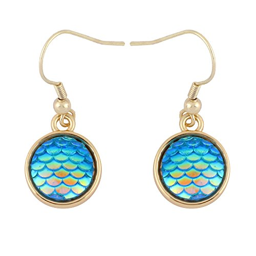 CHUANGYUN Round Dangle Hook Earring with Color Changing Auspicious Scales (Gold) ()