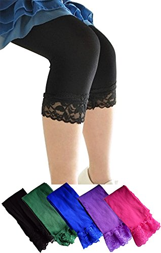 Gellwhu 5pcs Girls Capri Leggings Pants with Lace Trim Tights for Girls 6-12 (B Set)
