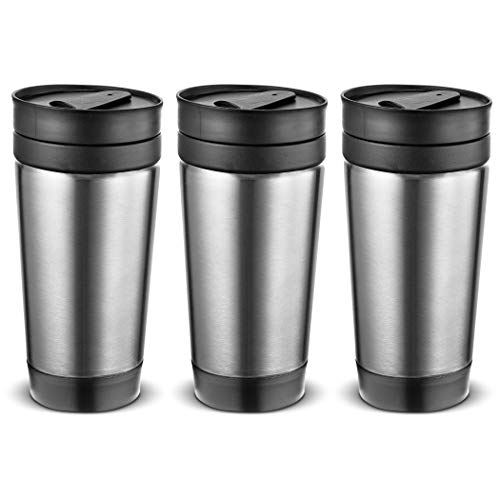 Set of 3 Stainless Steel coffee cup Insulated Travel Car Mug | Spill LEAK Proof | Reusable coffee cups with lids | Insulated Coffee & Tea mug Keeps Hot or Cold | 16 oz | great for travel. Liquor Sip.