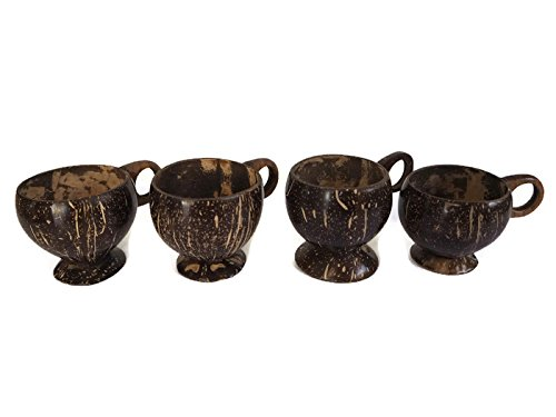 (Drinking Cup Made from Coconut Shell ( Pack of 4 PCS.))