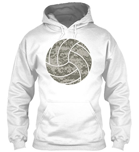 Digital Grey Camo Volleyball Sweatshirt - L - White - Gildan 8oz Heavy Blend Hoodie