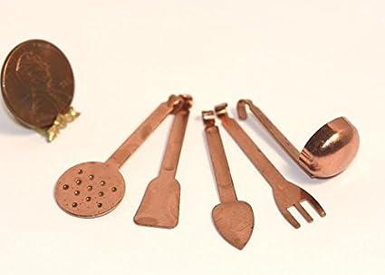 Copper Kitchen Utensils | Amazon Com Dollhouse Miniature Set Of 5 Copper Kitchen Utensils No