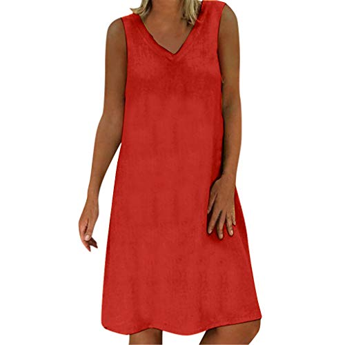 iHPH7 T-Shirt Dress Casual Swing Loose Summer Style T-Shirt Casual Plus Size Ladies Dress Women (3XL,10- Red)